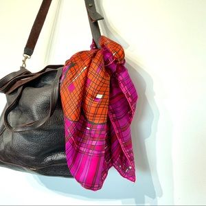Vintage Schiaparelli silk square scarf wrap pink